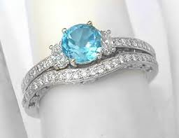 topaz engagement ring vintage inspired blue topaz diamond engagement ring and matching