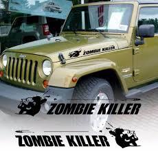 jeep cj hood product zombie killer flying bullet hood vinyl decal sticker