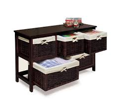 Wood Storage Cabinets With Drawers Amazon Com Badger Basket Five Basket Storage Unit With Wicker