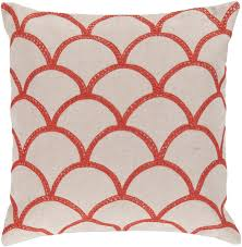 surya area rugs accent pillow com 009 orange red peach cream