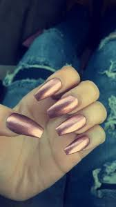 rose gold metallic acrylic nails long coffin shape copper penny