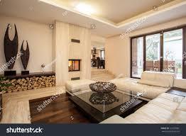 travertine house interior beige living room stock photo 121657981