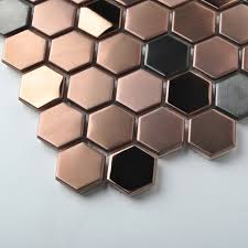 stainless steel brushed mosaic tile gold black bathroom