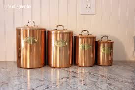 canisters for the kitchen vintage copper kitchen canisters thewhitebuffalostylingco