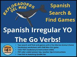 spanish present irregular yo go bundle presente de verbos