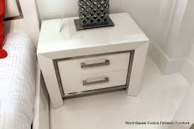 High Gloss Side Table Bedroom Gorgeous Nightstand Side Table High Gloss White Wood 2