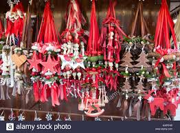 bunches of german made christmas decorations on sale at the munich