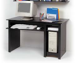 small black metal computer desk with glass top and printer stand