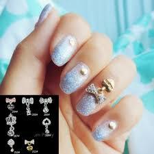 0 99 2pcs rhinestone crystal crown bow heart dangle 3d nail art