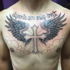 collection of 25 wings cross on chest intended for