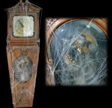 animatronic haunted grandfather clock with real grandfather inside