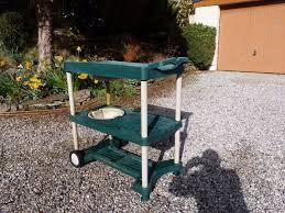 plastic potting bench with wheels u0026 sink good condition 35 00