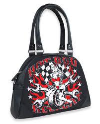 Ford Racing Flag Rod Hellcat Wheel Handbag Leopard Rockabilly Pinup