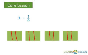 dividing a whole number by a fraction divide whole numbers by unit fractions using a model learnzillion