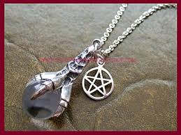 silver crystal ball necklace images Dragons claw pendant necklace with pentagram charm sterling silver jpg