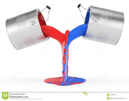 pouring red and blue paint stock photos image 30396163