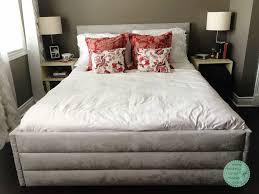 upholstered bed frame and headboard u2014 bidziu handmade