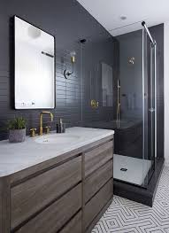 nyc small bathroom ideas sleek modern dark bathroom with glossy tiled walls threshold
