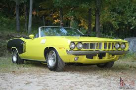 mitsubishi j54 plymouth cuda convertible original curious yellow 340 4spd numbers