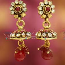 fancy jhumka earrings j3236 mini antique gold plated jhumka handmade fancy jewellery low