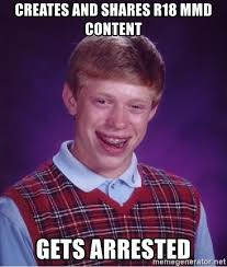 R18 Memes - creates and shares r18 mmd content gets arrested bad luck brian