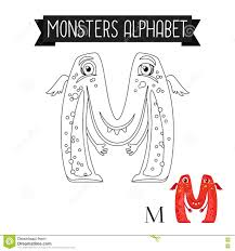 coloring page monsters alphabet letter m stock vector image