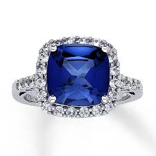 lab created engagement ring lab created sapphire ring cushion cut 10k white gold