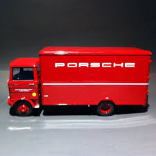 red porsche truck case truck mercedes benz lp608 porsche red 1 18 premium