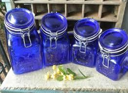 cobalt blue kitchen canisters vintage cobalt blue glass kitchen canister spaghetti jar