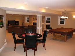 Dining Room Pool Table by Dashing Open Plans Basement Decor With Living Room And Dining Room