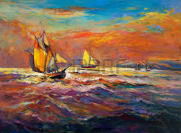 original oil painting of boat and sea on canvas sunset over ocean