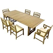 Oriental Chairs Mid Century Oriental Modern Dining Table Set With Six Chairs On