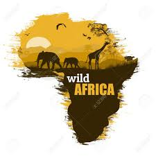 Africa On The Map by Wild African Animals Silhouettes On The Map Of Africa With Space