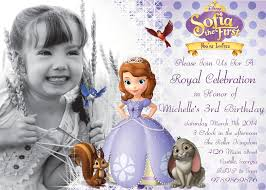 Birthday Invitation Cards For Kids First Birthday Sofia The First Birthday Invitations Kawaiitheo Com