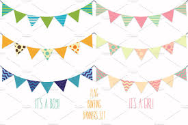 Baby Flag Flag Banners Bunting Vector Clipart Illustrations Creative Market