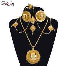 african jewelry necklace set images Shamty ethiopian bridal pure gold color african jewelry sets hot jpg