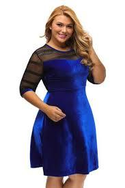 chicloth plus size mesh insert blue velvet swing dress