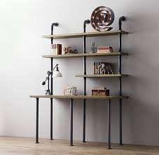 Wooden Desk With Shelves Industrial Pipe Desk And Shelving Stylishly Industrious Furniture