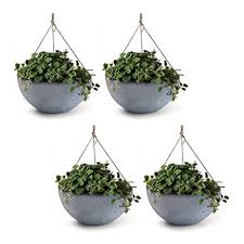 amazon com 4 pack hanging planters 13 8 inch indoor outdoor