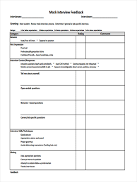 Resume Evaluation Interview Feedback Form Template Virtren Com