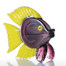 Fish Home Decor Best And Cheap Purple Tooarts Yellow Tropical Fish Glass Sculpture