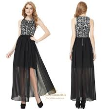 Black And White Prom Dresses With Slits Up The Side Black Lace Top