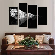 home interior tiger picture 4 pcs set wall art home decoration animals combined paintings tiger