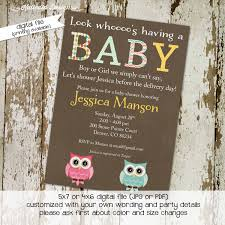 owl baby shower invitation gender neutral gender reveal couples