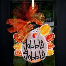 turkey door hanger thanksgiving door hanger by bluepickledesigns