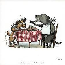 dogs at dinner table in the mood for italian food cooking and dining themed greeting