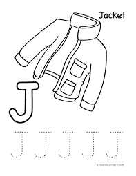 letter j writing and coloring sheet