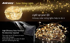 solar string lights ankway 200 led lights 8 modes 3 strands