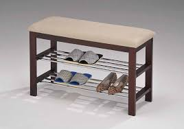 Shoe Storage With Seat Or Bench - amazon com legacy decor walnut wood shoe bench with two metal