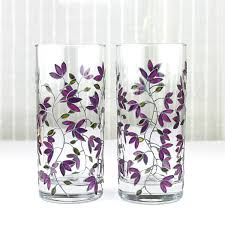 halloween goblets hand painted glasses purple tulips design tumblers water
